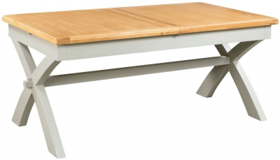 Lundy Oak and Grey Painted 180cm-230cm Extending Dining Table with X-Legs