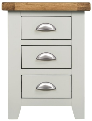 Lundy Oak and Grey Painted 3 Drawer Bedside Cabinet