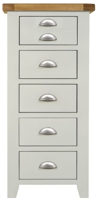 Lundy Oak and Grey Painted 5 Drawer Tall Chest