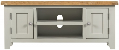 Lundy Oak and Grey Painted 2 Door Large TV Unit
