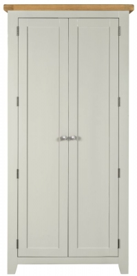 Lundy Oak and Grey Painted 2 Door Wardrobe