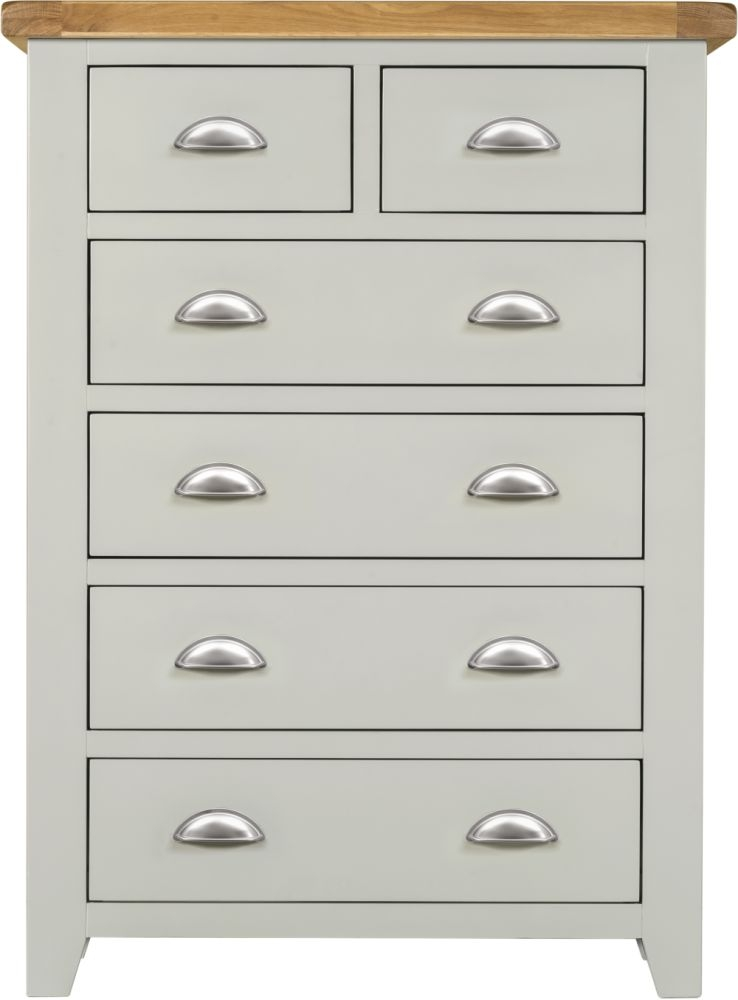 Lundy Oak and Grey Painted 2+4 Drawer Chest