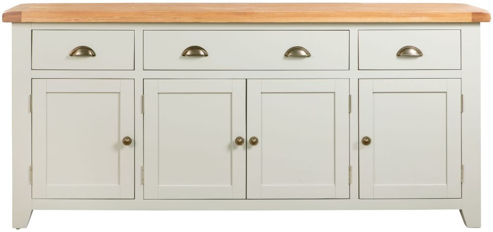 Lundy Oak and Grey Painted 4 Door 3 Drawer Sideboard