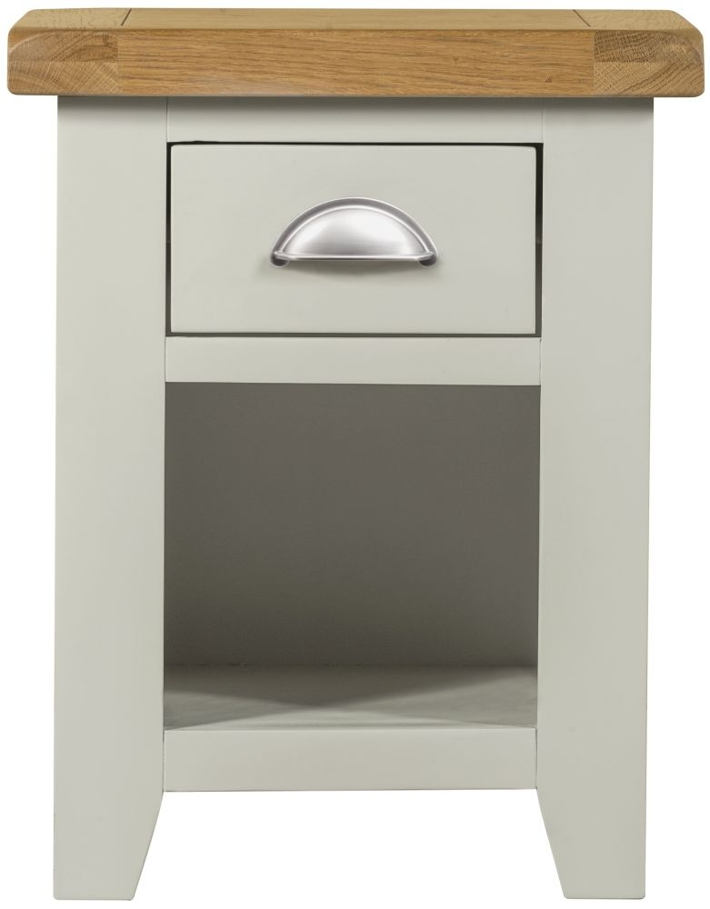 Lundy Bedside Cabinet - Oak and Grey Painted