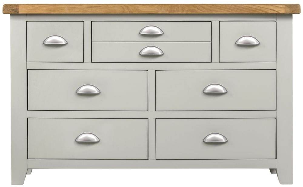 Lundy Oak and Grey Painted 3+4 Drawer Chest
