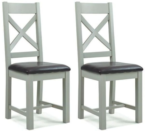 Lundy Oak and Grey Painted Cross Back Dining Chair (Pair)