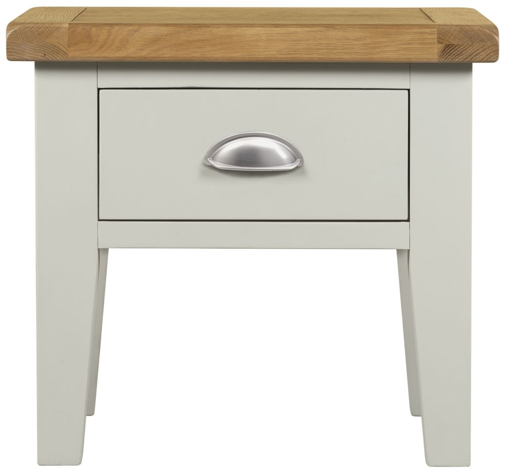 Lundy Oak and Grey Painted 1 Drawer Lamp Table