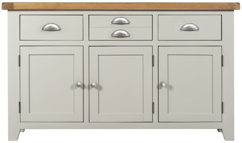 Lundy Grey 3 Door 3 Drawer Wide Sideboard