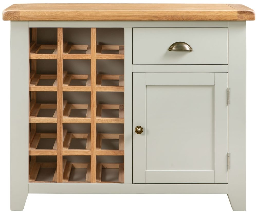 Lundy Wine Cabinet - Oak and Grey Painted
