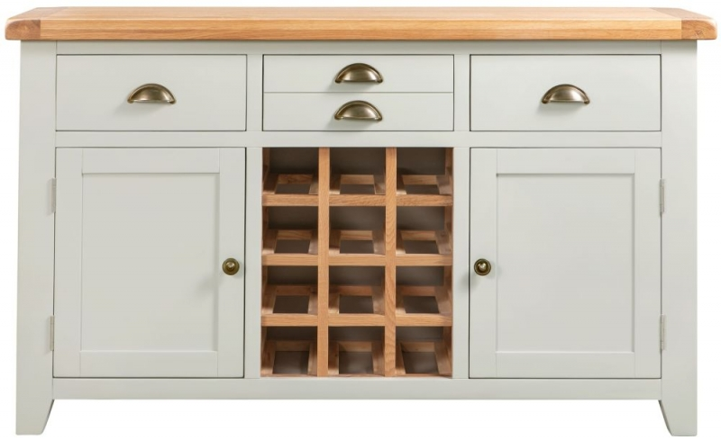 Lundy Oak and Grey Painted Large Wine Cabinet