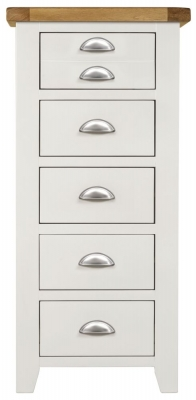 Lundy Oak and White 5 Drawer Tall Chest