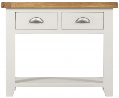 Lundy Oak and White 2 Drawer Console Table
