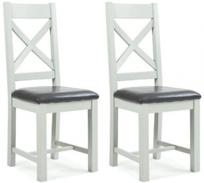 Lundy White Painted Cross Back Dining Chair with Padded Seat (Pair)
