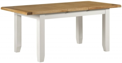 Lundy Oak and White 140cm-180cm Extending Dining Table