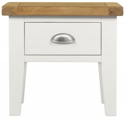 Lundy Oak and White 1 Drawer Lamp Table