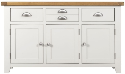 Lundy Oak and White 3 Door 3 Drawer Sideboard