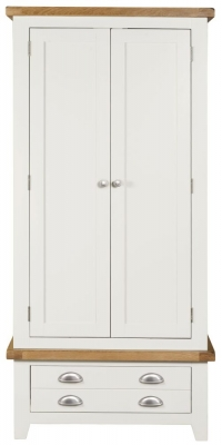 Lundy Oak and White 2 Door 1 Drawer Wardrobe
