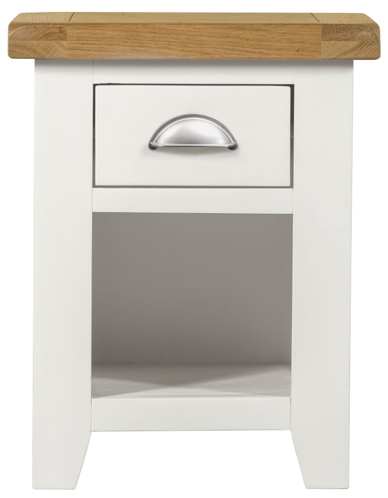 Lundy White Bedside Cabinet - 1 Drawer