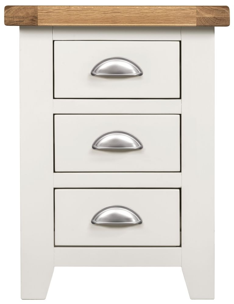 Lundy White 3 Drawer Bedside Cabinet