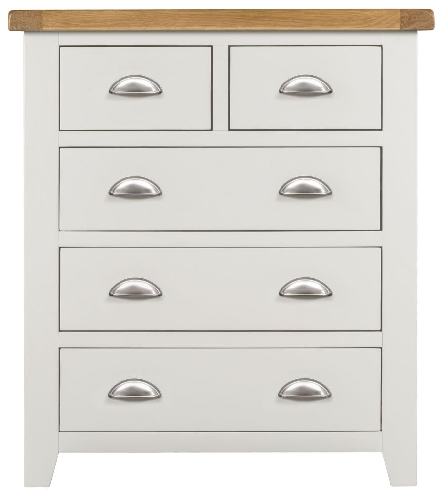 Lundy White 3+2 Drawer Chest