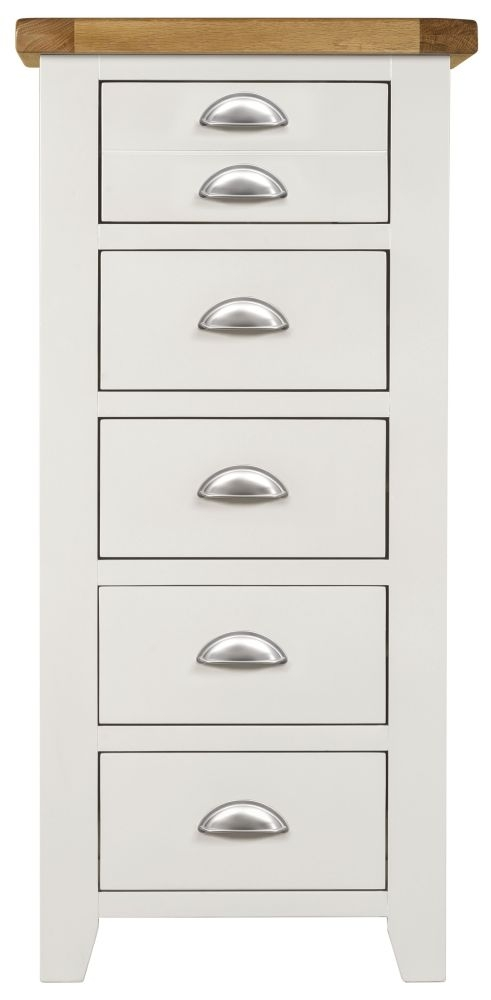 Lundy White 5 Drawer Chest