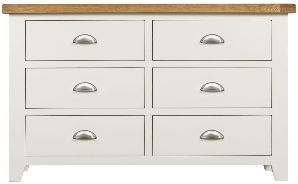 Lundy White Chest of Drawer - 6 Drawer