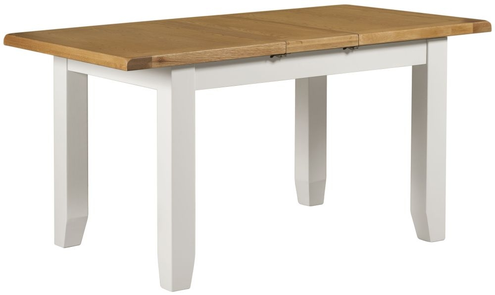 Lundy White Rectangular Extending Dining Table - 120cm-150cm