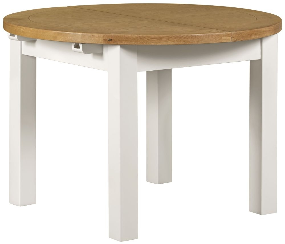 Lundy white dining table round extending