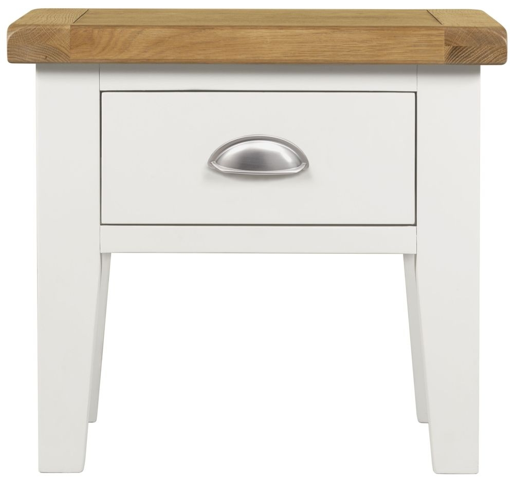 Lundy White 1 Drawer Lamp Table