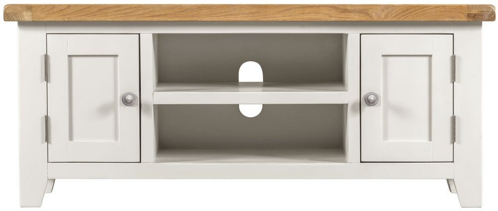 Lundy White TV Unit - 2 Door