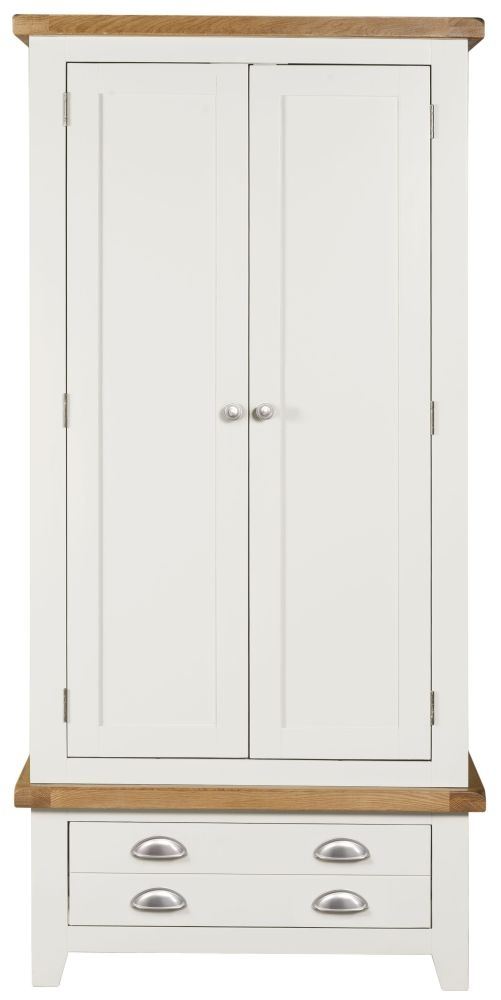 Lundy White 2 Door 1 Drawer Double Wardrobe