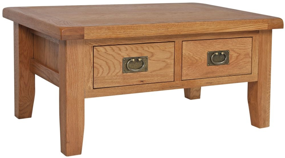 Lyon Oak 2 Drawer Storage Coffee Table