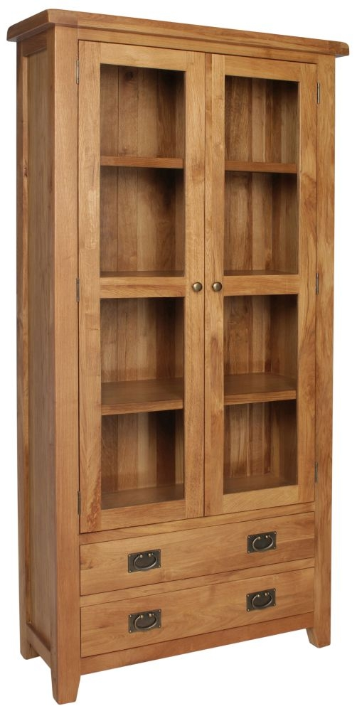 Lyon Oak 2 Door 2 Drawer Display Cabinet