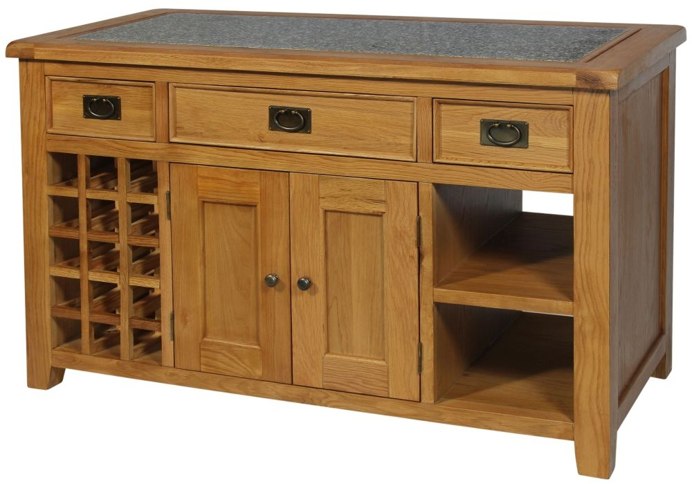 Lyon Oak 2 Door 3 Drawer Kitchen Island with Granite Top