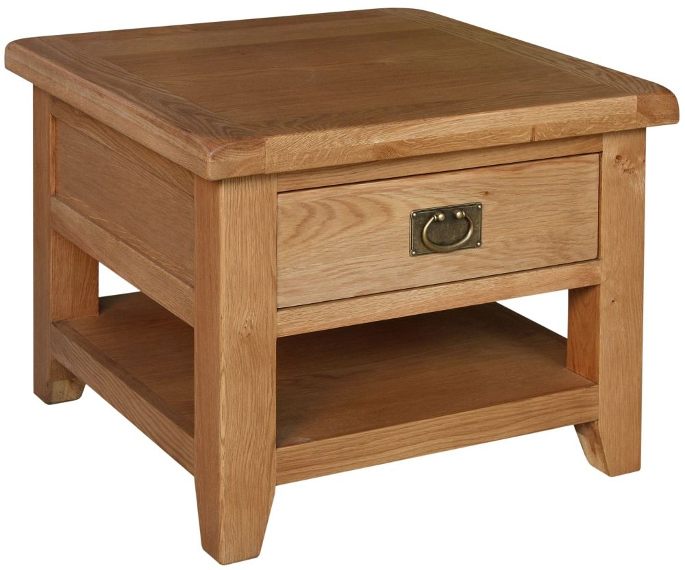 Lyon Oak 1 Drawer Lamp Table