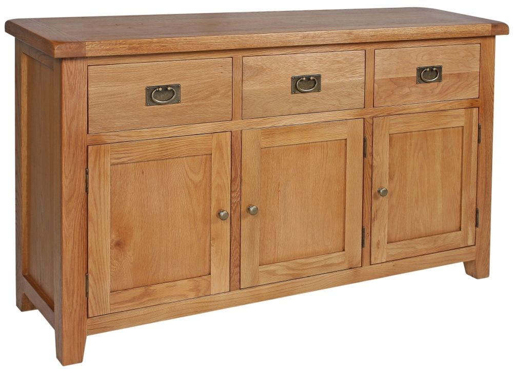 Lyon Oak 3 Door 3 Drawer Wide Sideboard