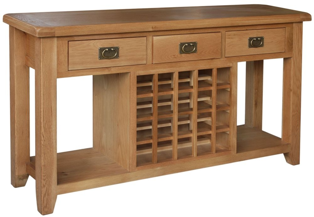 Lyon Oak 3 Drawer Wide Sideboard with Wine Rack