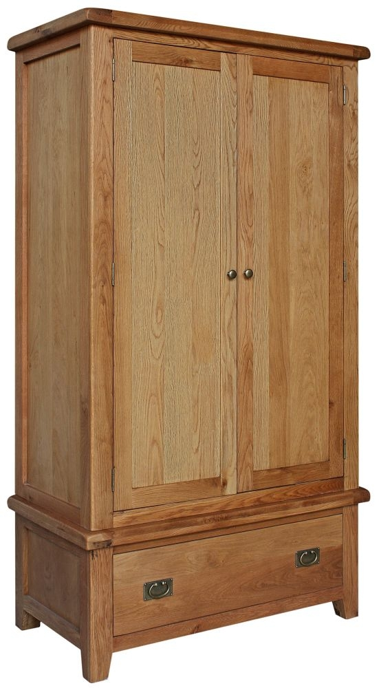 Lyon Oak 2 Door 1 Drawer Wardrobe