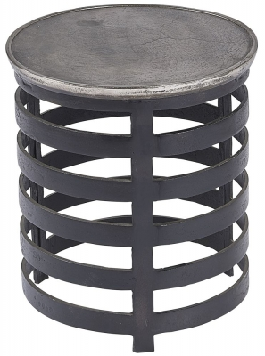 Plano Vintage Silver and Blackish Bronze Round Side Table