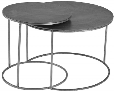 Plano Vintage Silver Top Round Nest of 2 Coffee Table