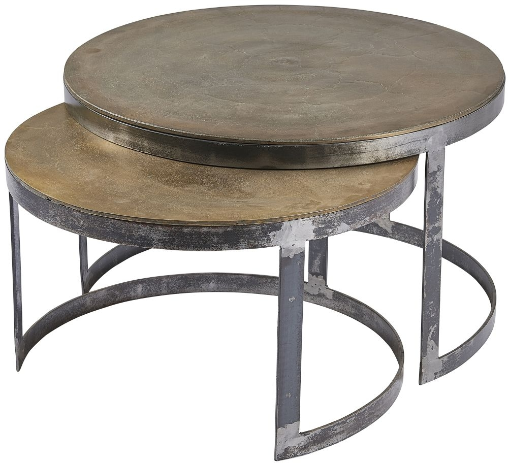 Plano Antique Brass Round Nest of 2 Coffee Table