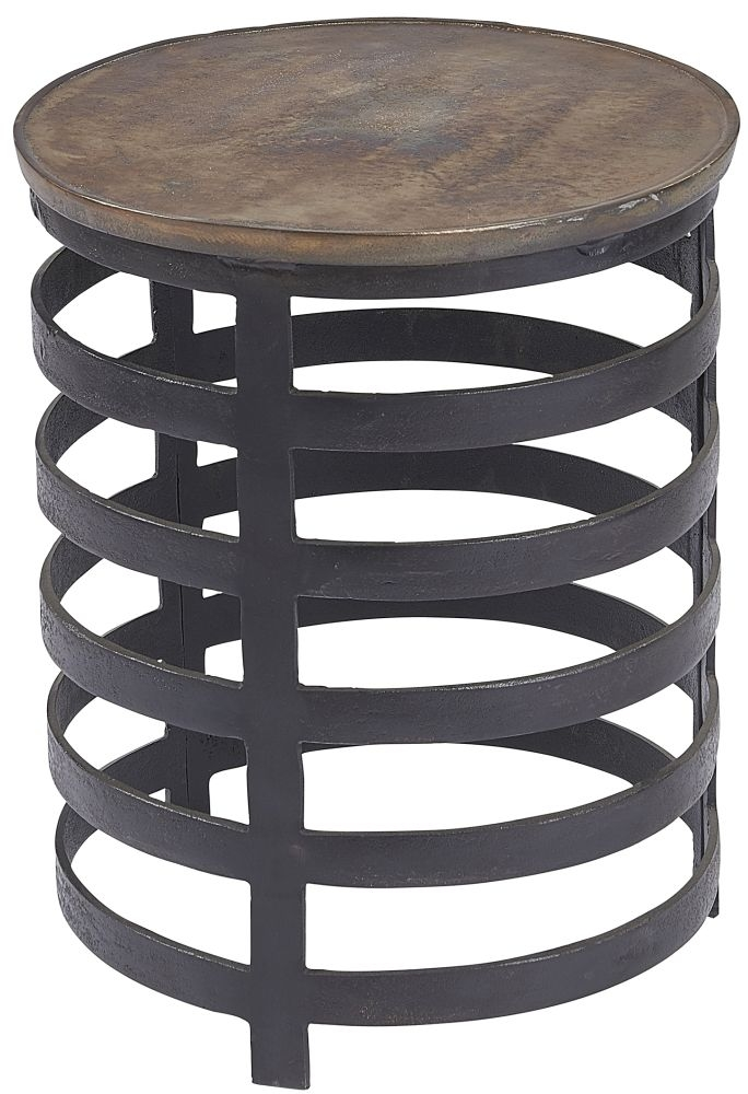 Plano Vintage Brass and Blackish Bronze Round Large Side Table