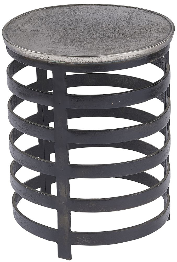 Plano Vintage Silver and Blackish Bronze Round Large Side Table