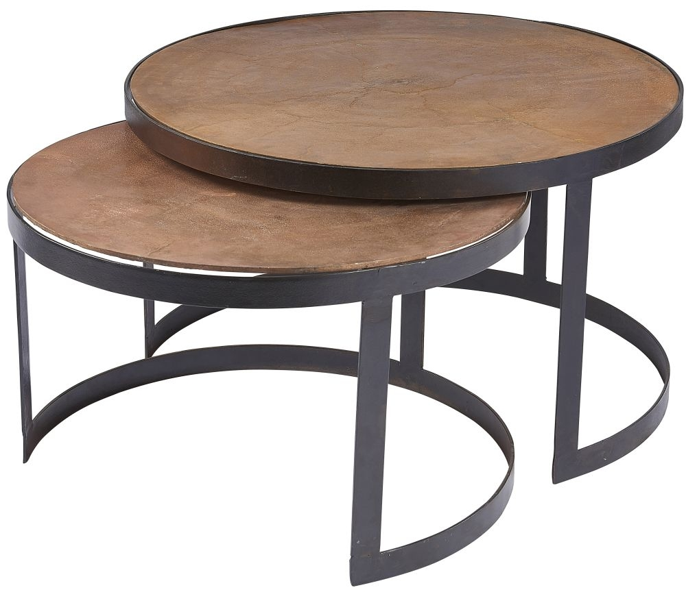 - Plano Vintage Copper Round Nest Of 2 Coffee Table - CFS Furniture UK