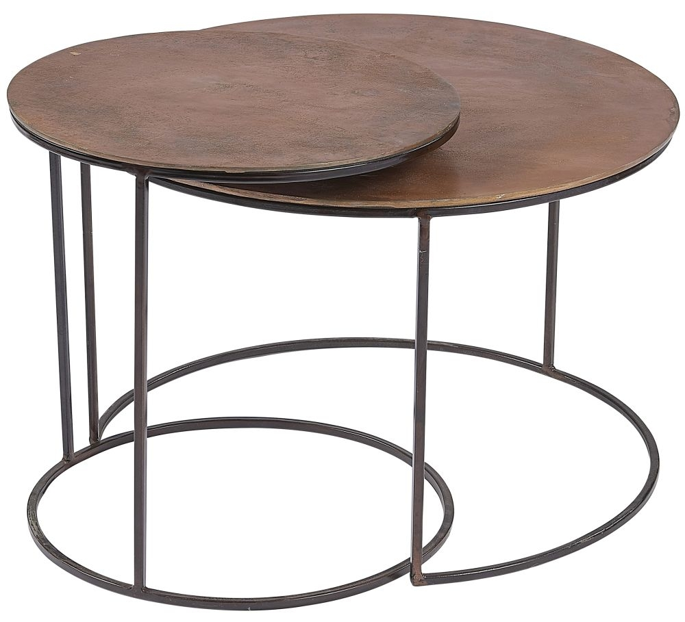 Plano Round Vintage Copper Top Nest of 2 Coffee Table