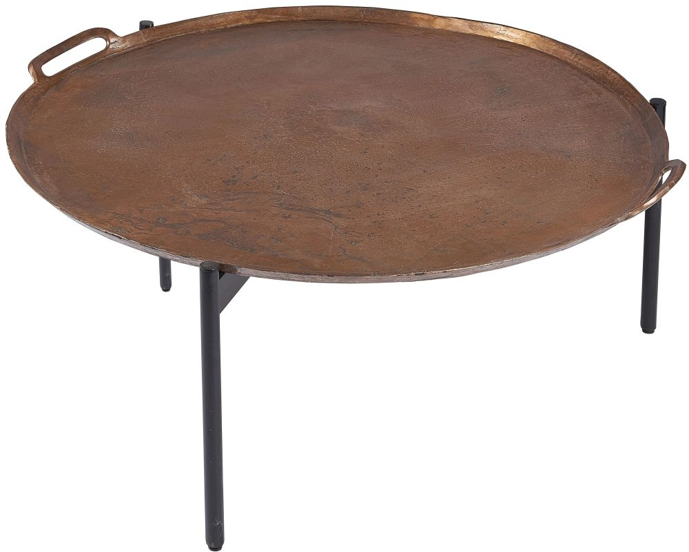 Plano Round Vintage Copper Top Small Coffee Table