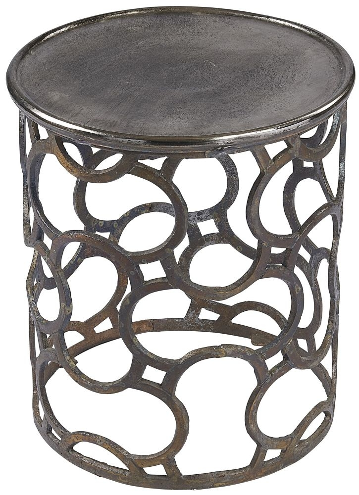 Plano Vintage Silver Top Round Large Side Table