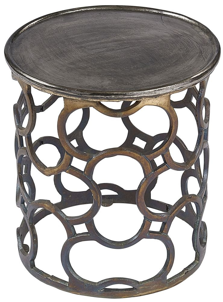 Plano Vintage Silver Top Round Side Table