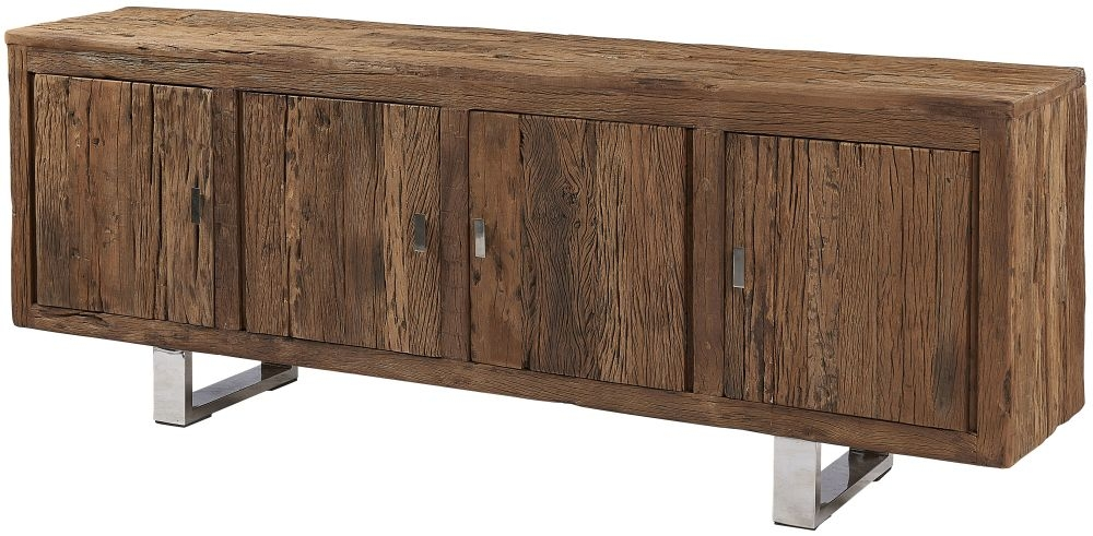 Railway Sleeper Wood 4 Door Sideboard