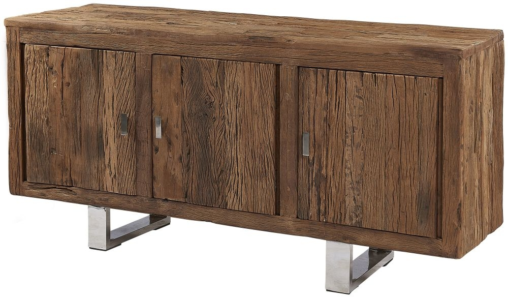 Railway Sleeper Wood 3 Door Sideboard